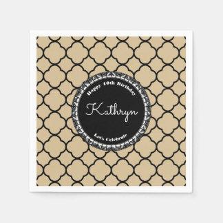 Elegant Sand Moroccan Birthday Paper Napkin
