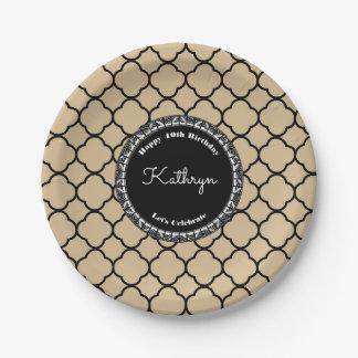 Elegant Sand Moroccan Birthday Paper Plate