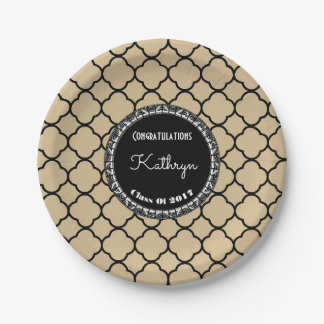 Elegant Sand Moroccan Graduation 7 Inch Paper Plate