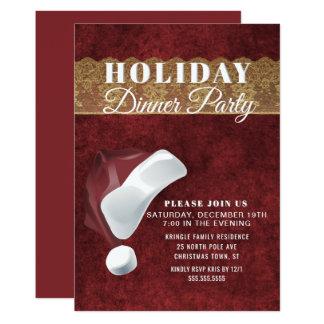 Elegant Santa Red Holiday Dinner Party Invitation