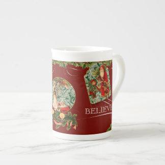Elegant Santa Saint Nicholas Believe Swirl Vintage Tea Cup