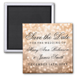 Elegant Save The Date Copper Glitter Lights Magnet