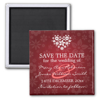 Elegant Save The Date Flowery Heart Red Square Magnet