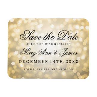 Elegant Save The Date Gold Glitter Lights Rectangular Magnets