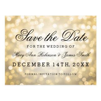 Elegant Save The Date Gold Glitter Lights Postcard