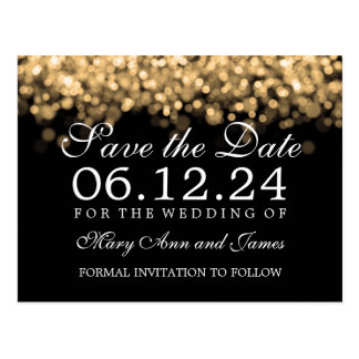 Elegant Save The Date Gold Lights Postcard