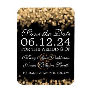 Elegant Save The Date Gold Lights Rectangular Photo Magnet