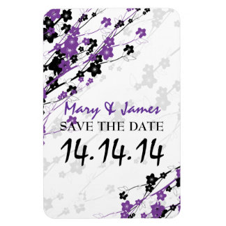 Elegant Save The Date  Japanese Flowers Purple Magnet
