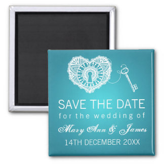 Elegant Save The Date Key To My Heart Turquoise Square Magnet