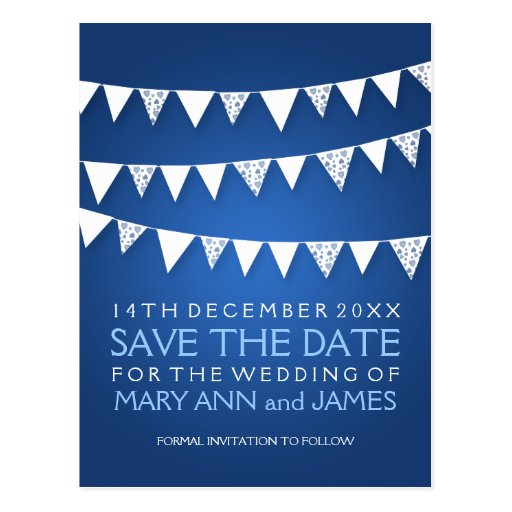 Elegant Save The Date Love Bunting Blue Postcard