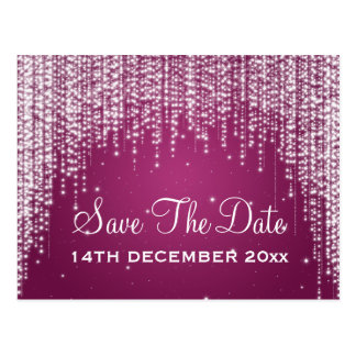 Elegant Save The Date Night Dazzle Berry Pink Postcard