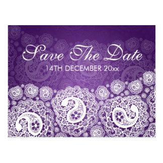 Elegant Save The Date Paisley Lace Purple Postcard