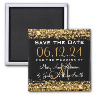 Elegant Save The Date Party Sparkles Gold Square Magnet