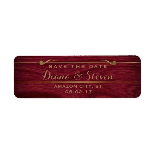 Elegant Save the Date Rustic Wood Gold Wedding Return Address Label