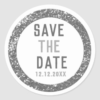 Elegant Save The Date Silver Glitter Classic Round Sticker