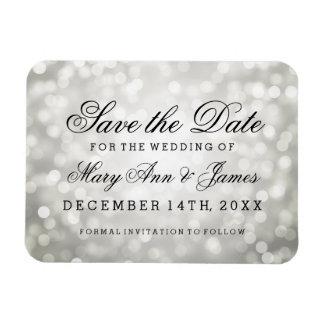 Elegant Save The Date Silver Glitter Lights Rectangular Photo Magnet