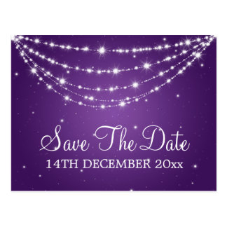 Elegant Save The Date Sparkling Chain Purple Postcard
