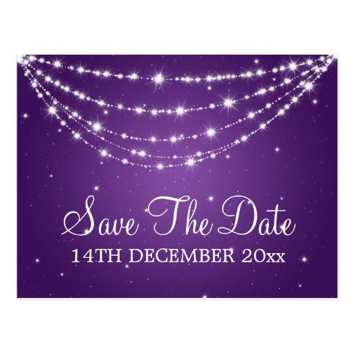 Elegant Save The Date Sparkling Chain Purple Postcard
