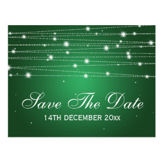 Elegant Save The Date Sparkling Lines Emerald Postcard