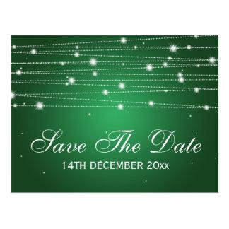 Elegant Save The Date Sparkling Lines Emerald Postcard