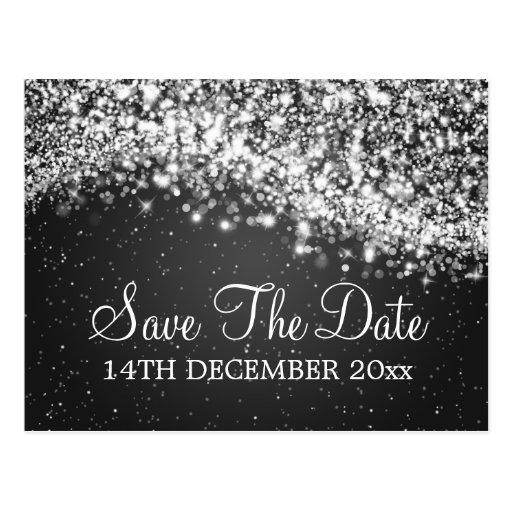 Elegant Save The Date Sparkling Wave Black Postcard