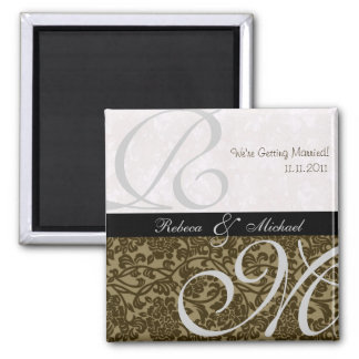 Elegant Save the Date Square Magnet