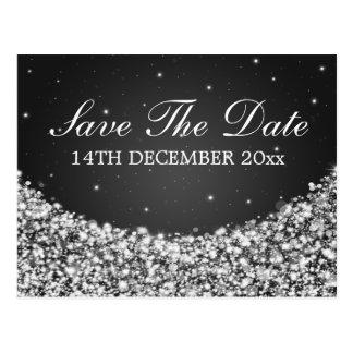 Elegant Save The Date Star Sparkle Black Postcard