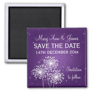 Elegant Save The Date Summer Sparkle Purple Square Magnet