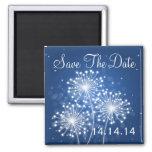 Elegant Save The Date Summer Sparkle Sapphire Blue Refrigerator Magnets