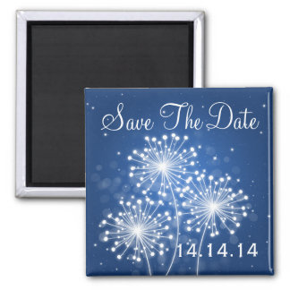 Elegant Save The Date Summer Sparkle Sapphire Blue Square Magnet