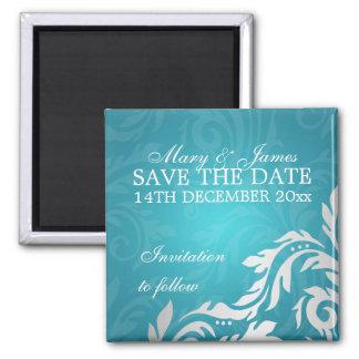 Elegant Save The Date Swirly Flourish Aqua Blue Square Magnet