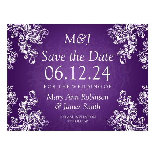 Elegant Save The Date Vintage Swirls 2 Purple Postcard