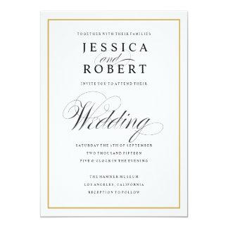 Elegant Script and Gold Border Wedding Card