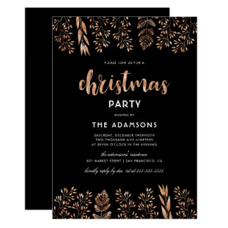 Elegant Script & Botanical Christmas Party Card