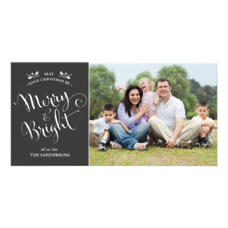 Elegant Script Christmas Photo Card in Charcoal
