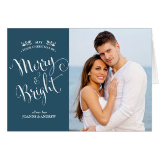Elegant Script Christmas Photo Card in Green
