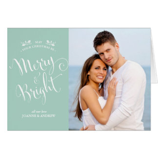 Elegant Script Christmas Photo Card in Mint