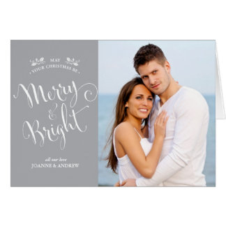 Elegant Script Christmas Photo Card in Silver