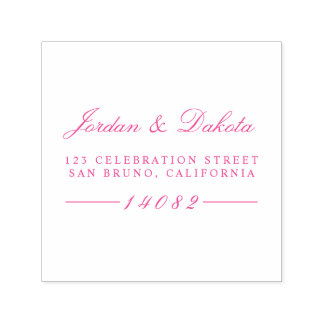 Elegant Script Custom Names Wedding Return Address Self-inking Stamp