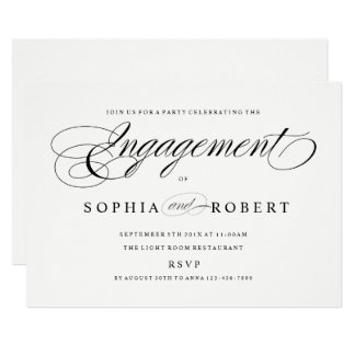 Elegant Script Engagement Party Couples Wedding Card