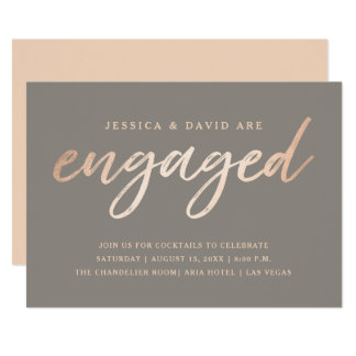 Elegant Script Faux Foil Engagement Card