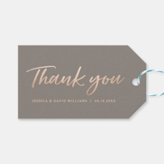 Elegant Script Faux Foil Thank You Gift Tags