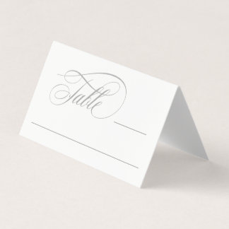 Elegant Script Flourishes Gray Place Card