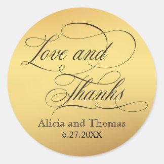 Elegant Script Flourishes Wedding Thank You Round Sticker