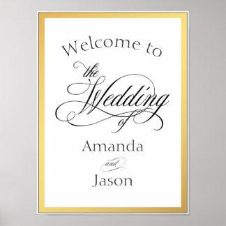 Elegant Script Flourishes Wedding Welcome Sign Poster
