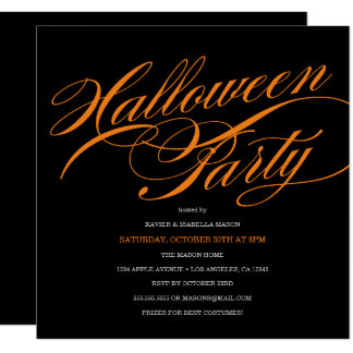 Elegant Script Halloween Party Invitation