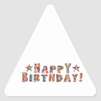 Elegant script: HAPPY BIRTHDAY Triangle Sticker