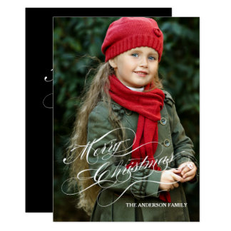 Elegant Script Merry Christmas Photo Holiday Card 13 Cm X 18 Cm Invitation Card