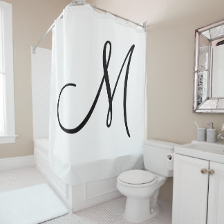 Elegant Script Monogram Black White Initial Shower Curtain