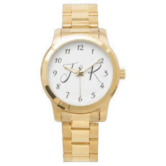 Elegant Script Monogram Initials Wedding Watch